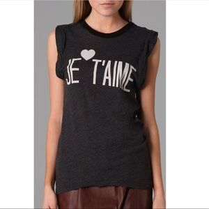 Wildfox Je T'aime Graphic Grey Muscle Tank